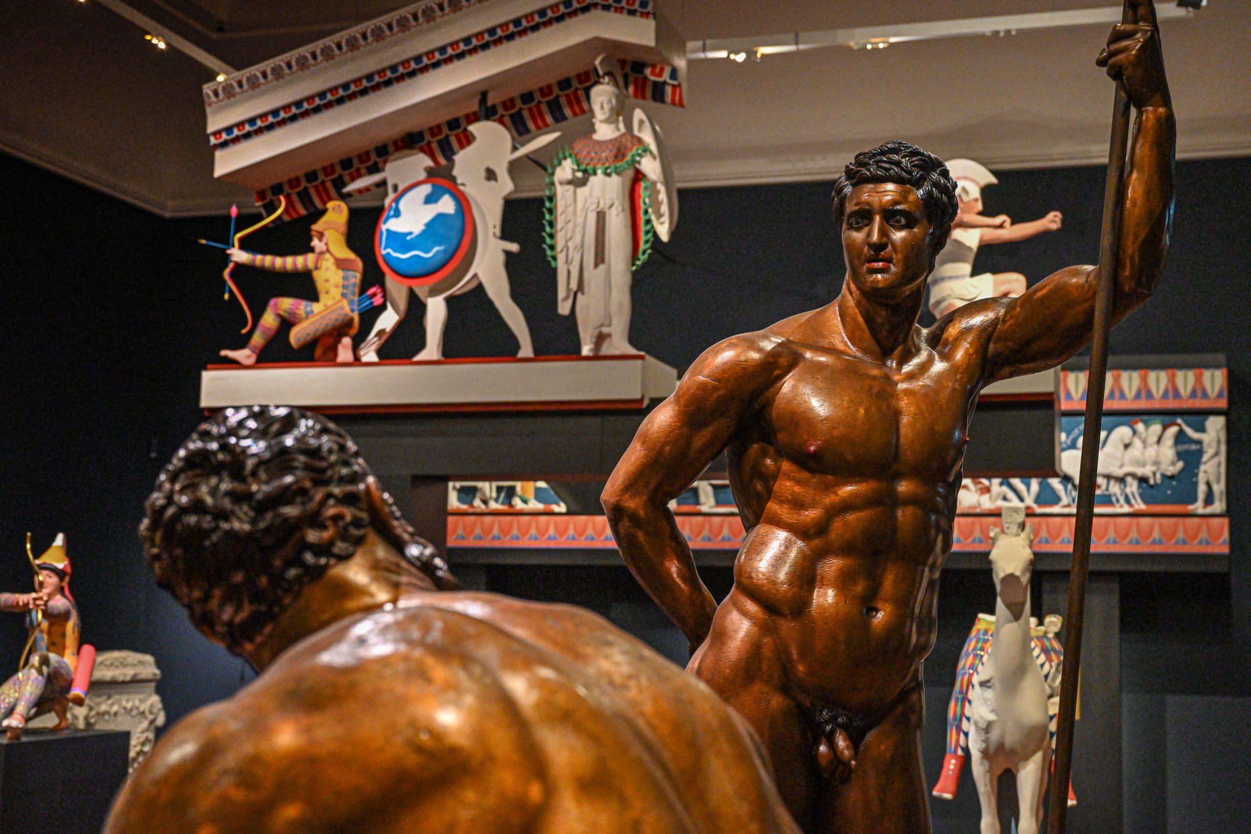 Bronzegruppe vom Quirinal in Rom (Darstellung aus der Argonautensage Thermenherrscher Polydeukes (stehend) und Faustkämpfer Amykos (sitzend)).