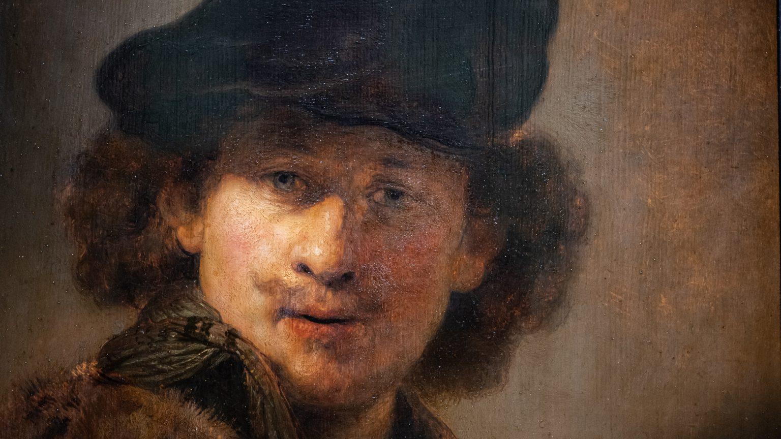 Rembrandt, Selbstbildnis mit Samtbarrett und Mantel mit Pelzkragen, 1634