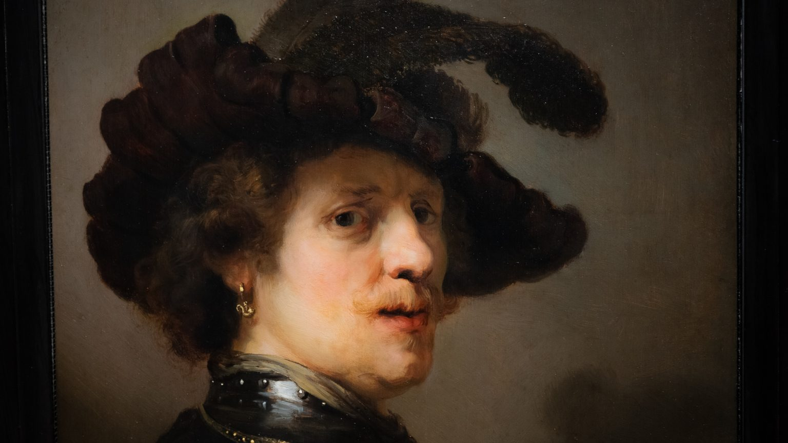 Rembrandt, Tronie eines Mannes mit Federbarrett, um 1635 - 1640