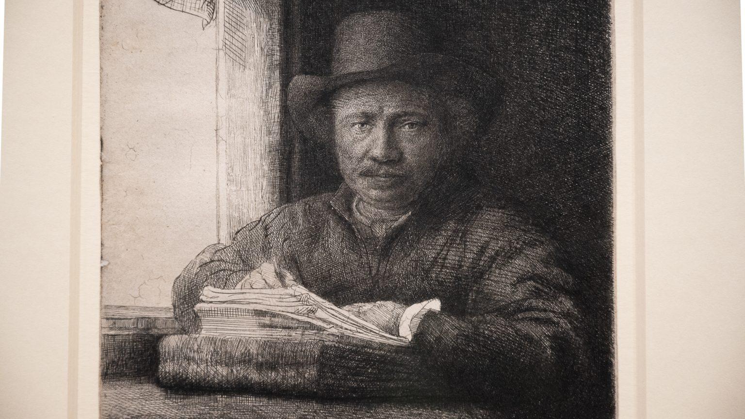 Rembrandt, Selbstbildnis, radierend am Fenster, 1648